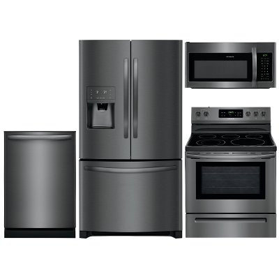 kit frigidaire black stainless steel 4 piece kitchen appliance package with electric range frigidaire black stainless steel 4 piece kitchen appliance package      rh   rcwilley com