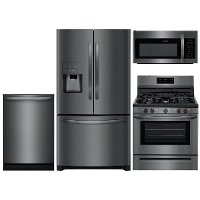 KIT Frigidaire 4 Piece Gas Kitchen Appliance Package with 26.8 cu. ft. French Door Refrigerator - Black Stainless Steel