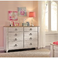 Classic Rustic Whitewash Youth Dresser - Millhaven