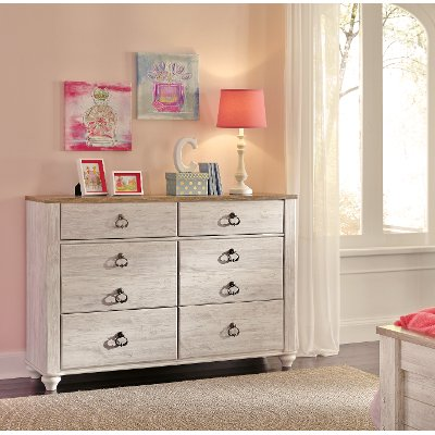 Classic Rustic Whitewashed Youth Dresser - Millhaven