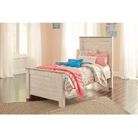 Classic Rustic Whitewash Twin Bed - Millhaven