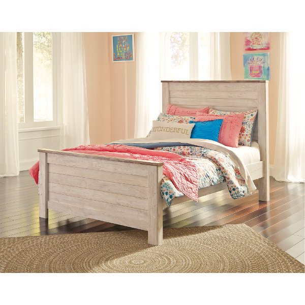 Clic Rustic Whitewash Full Size Bed Millhaven