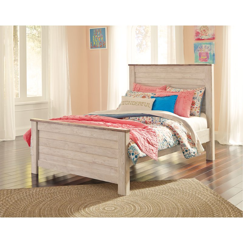 Classic Rustic Whitewashed Full Size Bed - Millhaven