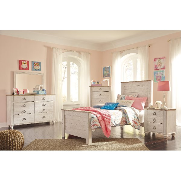 Classic Rustic Whitewashed 4 Piece Twin Bedroom Set   Millhaven