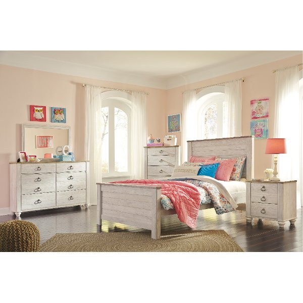 Classic Rustic Whitewashed 4 Piece Full Bedroom Set   Millhaven