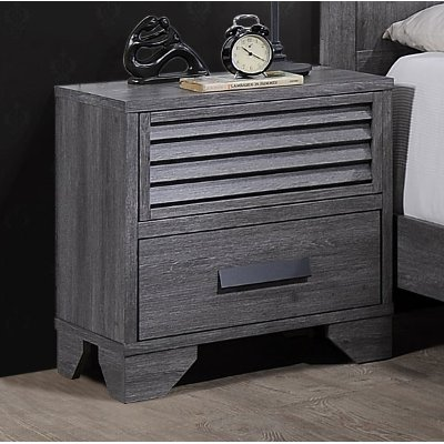 Casual Contemporary Gray Nightstand - Sarter