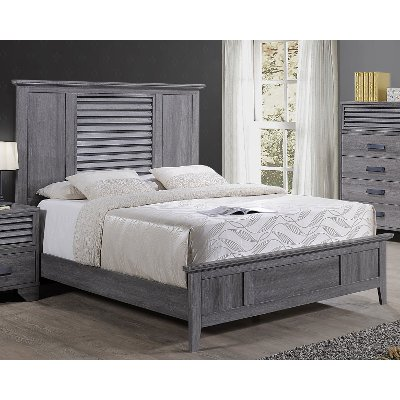 Casual Contemporary Gray Queen Bed - Sarter
