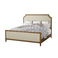 Classic Toffee and Sand Queen Upholstered Bed - Brussels
