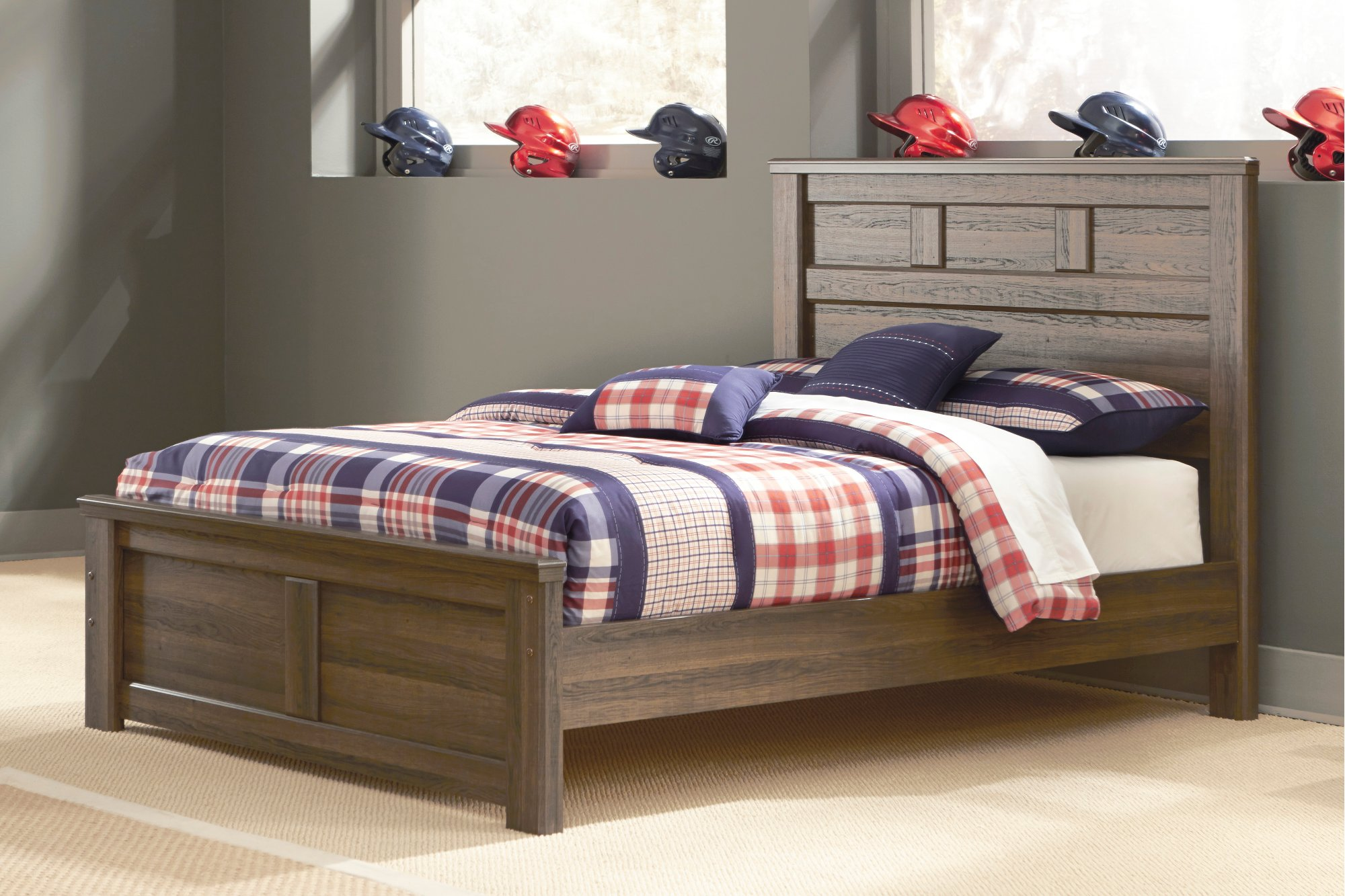 Rustic Modern Driftwood Brown Full Size Bed