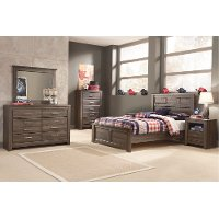 Rustic Modern Driftwood Brown 4 Piece Full Bedroom Set - Fairfax