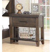 2622-37/NIGHTSTAND Rustic Contemporary Weathered Brown Nightstand - Montana