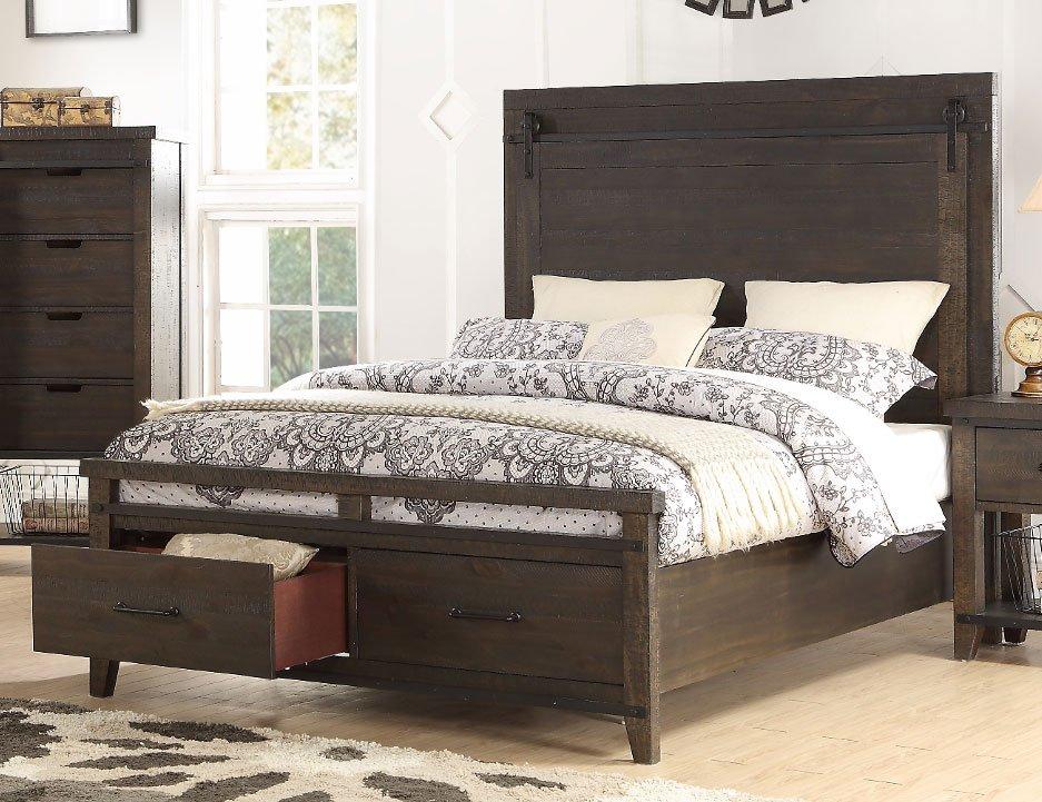 2622 STORAGEBED5 0 Rustic Contemporary Brown Queen Storage Bed