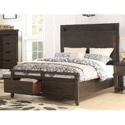 2622/STORAGEBED5/0 Rustic Contemporary Brown Queen Storage Bed - Montana