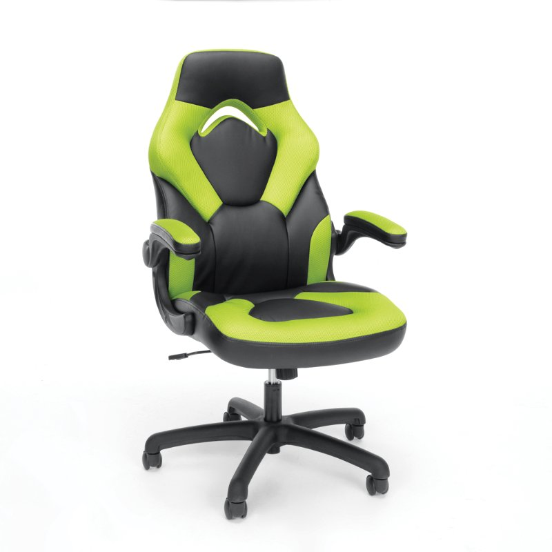 Green and Black Racing Style Leather Gaming Chair - Essentials