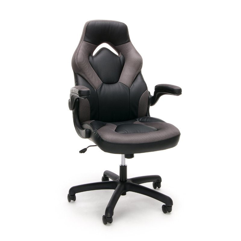 Gray and Black Racing Style Leather Gaming Chair - Essentials