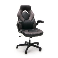 Gray and Black Racing Style Leather Gaming Chair