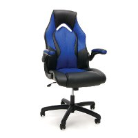 Blue and Black Leather Gaming Chair - Essentials
