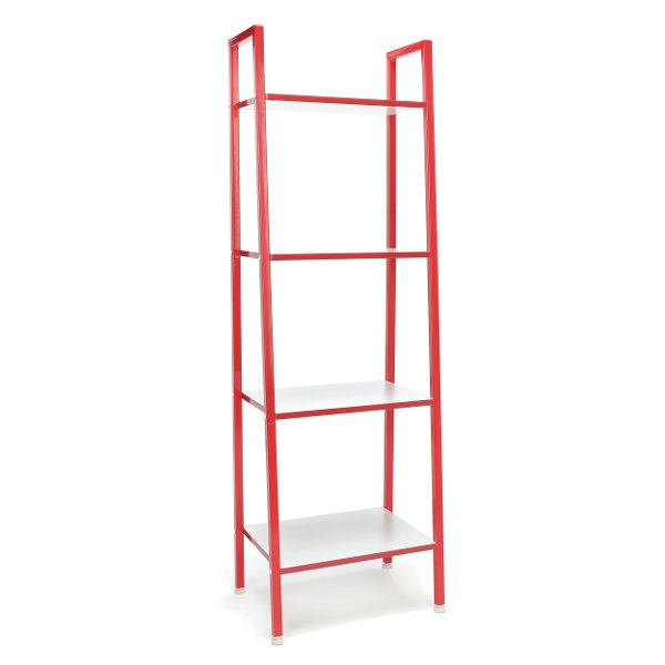 Red And White 4 Shelf Bookcase