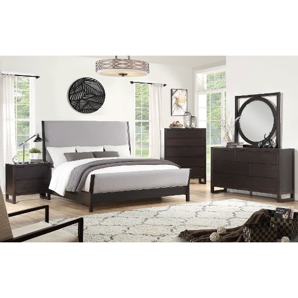 Clearance Modern Dark Brown 4 Piece Queen Bedroom Set Crosby Street