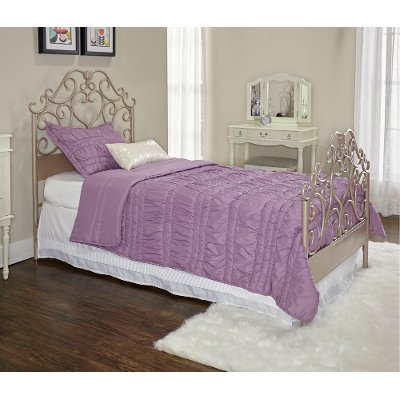 Traditional Rose Gold Twin Metal Bed   Elizabeth