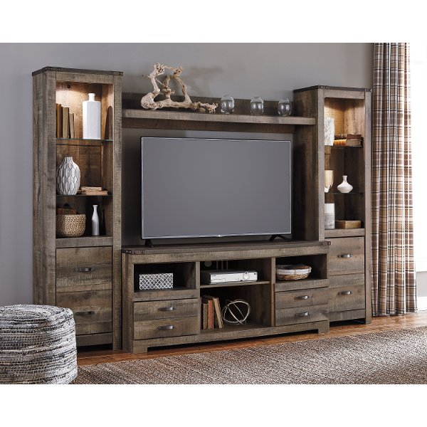 Natural Brown 4 Piece Rustic Entertainment Center - Trinell Centers \u0026 Wall Mounted TV   RC