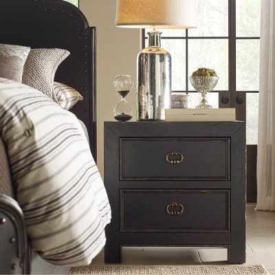 Rustic Traditional Black Nightstand - Bishop Hills