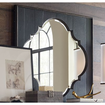 Rustic Traditional Black Mirror - Bishop Hills