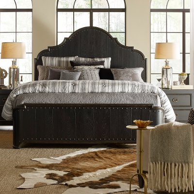 Rustic Traditional Black Queen Bed - Bishop Hills