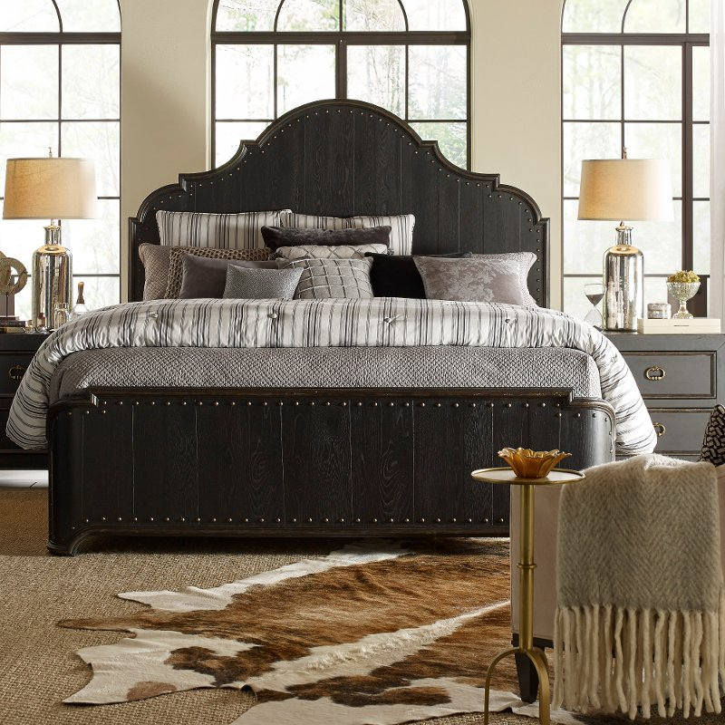 Rustic Traditional Black King Size Bed Bi Hills