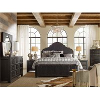 Rustic Traditional Black 4 Piece Queen Bedroom Set - Bishop Hills