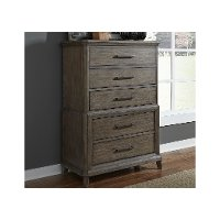 Classic Industrial Aged Oak Chest of Drawers - Artisan Prairie