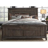 Classic Industrial Aged Oak Queen Size Bed Artisan Prairie Rc Willey Furniture Store