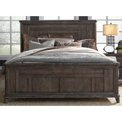 Classic Industrial Aged Oak King Size Bed - Artisan Prairie