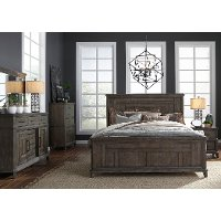 Classic Industrial Aged Oak 4 Piece King Bedroom Set - Artisan Prairie