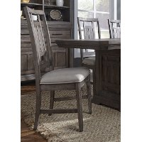 Aged Oak and Gray Lattice Back Dining Chair - Artisan Prairie