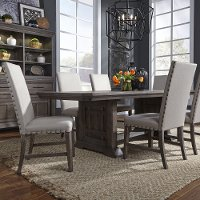Aged Oak and Gray Upholstered 5 Piece Dining Set - Artisan Prairie