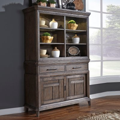 Classic Industrial Aged Oak China Cabinet With Hutch