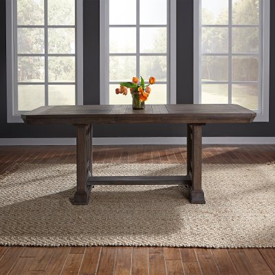 Classic Industrial Aged Oak Trestle Dining Room Table - Artisan Prairie