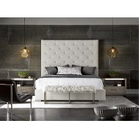 Contemporary Off-White Upholstered King Bed - Modern