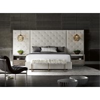 Off-White and Charcoal 9 Piece King Bedroom Set - Modern