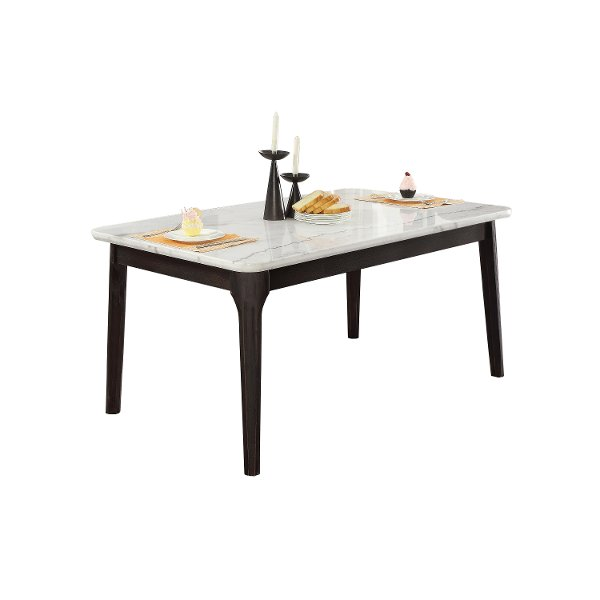 White Marble And Charcoal Dining Room Table Janel