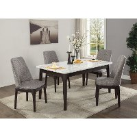 White Marble and Charcoal 5 Piece Dining Set - Janel