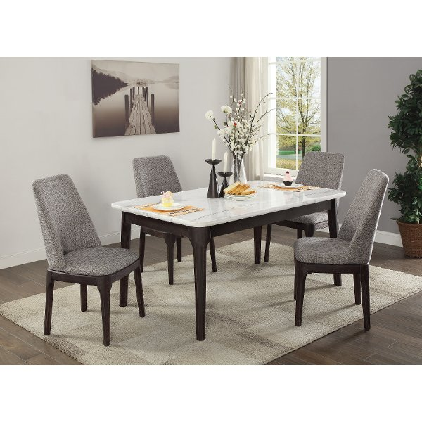 Kona Raisin Table59999 White Marble And Charcoal 5 Piece Dining Set   Janel