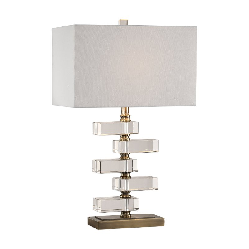 Stacked Clear Crystal Blocks and Brass Table Lamp