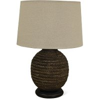 Brown Faux Rope Indoor-Outdoor Table Lamp with Black Base