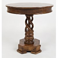 Solid Mango Hand Carved Pedestal Table - Global Archive