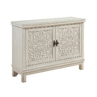 Galina White Wood Cabinet with 2 Carved Doors