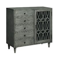 Burnished Gray Display Cabinet with Fretwork Design