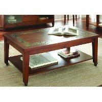Transitional Slate Top Brown Coffee Table - Davenport