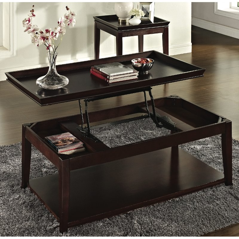 Cherry Brown Lift Top Coffee Table Clemson